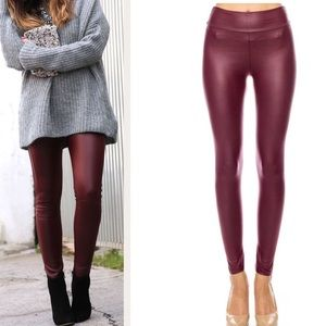 f103bea68d09a Pants - LAST ONE ❣️BURGUNDY FAUX LEATHER LEGGINGS